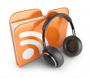 RSS audio folder. Concept of podcast feed. 3D Icon isolated